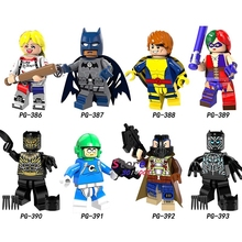 Single Super Hero Harley Quinn Bane Black Lantern Batman Panther Erik Killmonger Sauce prince building blocks toys for children