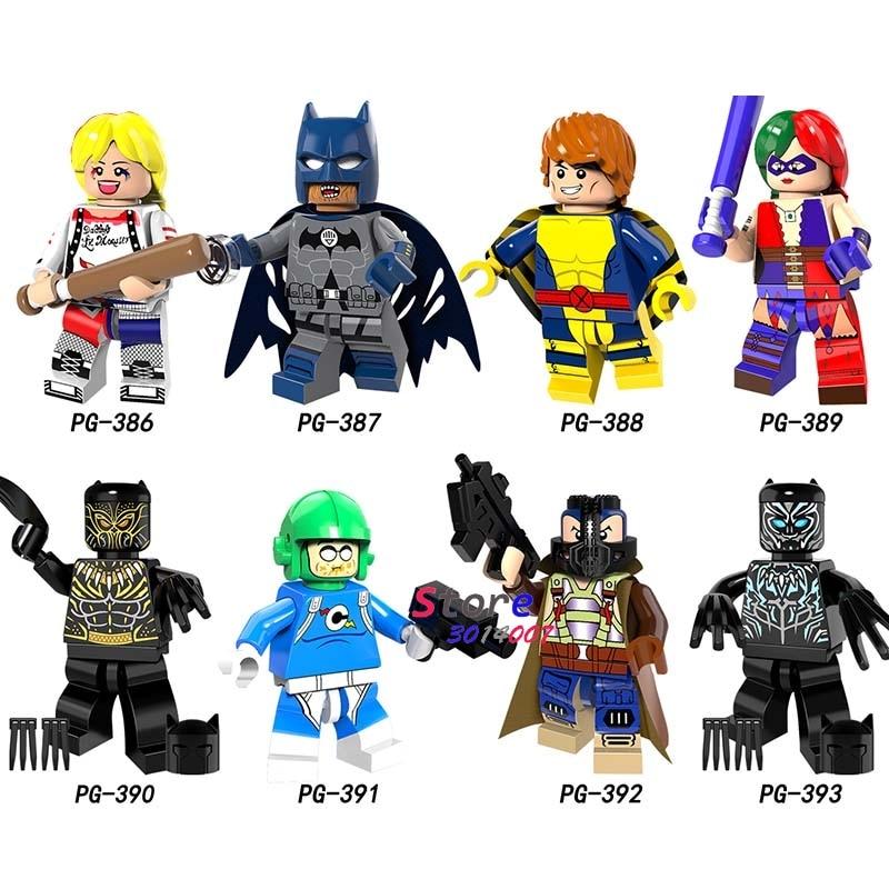 Single <font><b>Super</b></font> <font><b>Hero</b></font> Harley Quinn Bane Black Lantern Batman Panther Erik Killmonger Sauce prince building blocks toys for children