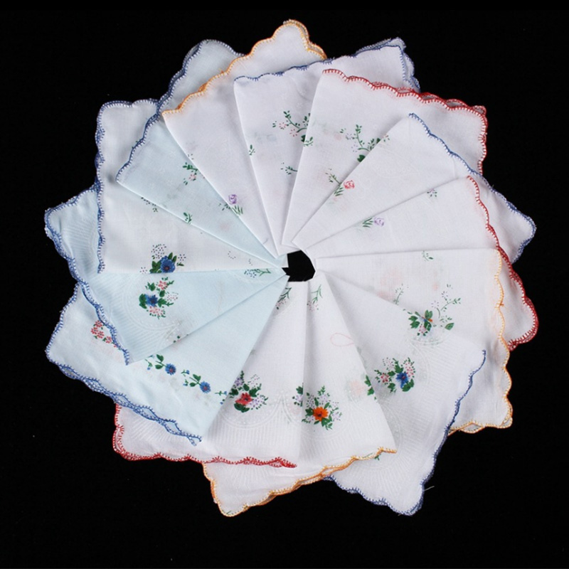 6Pcs Vintage Cotton Ladies Embroidered Lace Handkerchief Women Floral Hanky