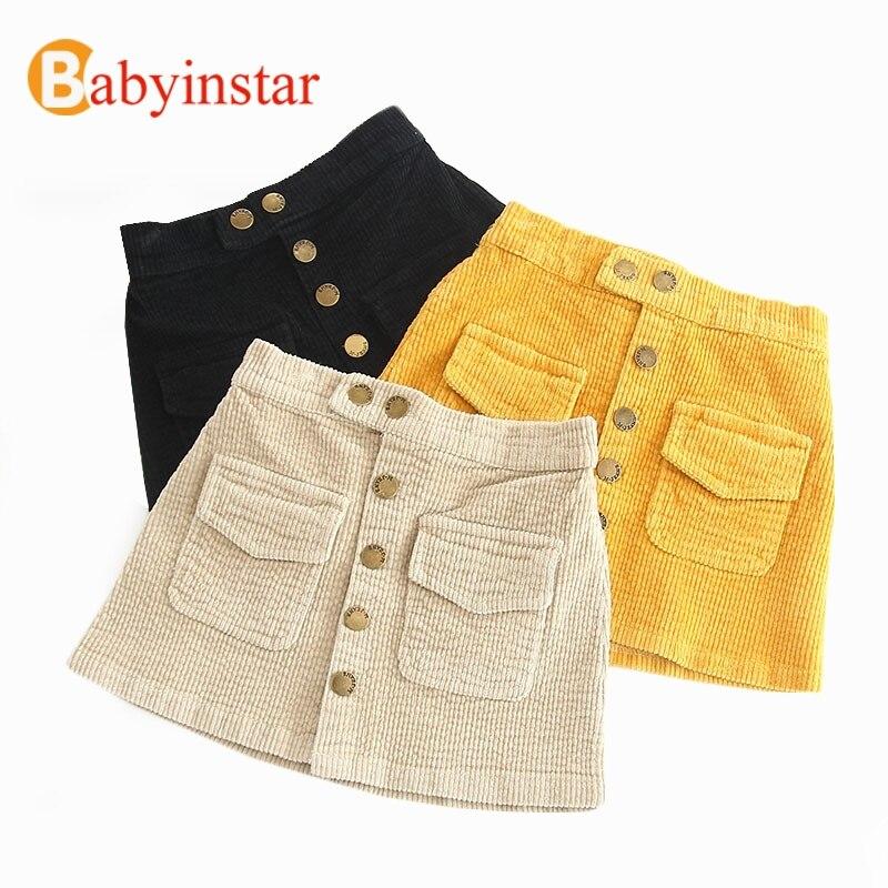 Faldas de las muchachas con el Color brillante 2018 moda Corduroy faldas niños traje Bebé Pantalones de la muchacha del niño ropa