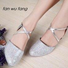 fan wu fang Hot Sales Glitter Latin Dance Shoes Low-heeled 5cm  Ballroom Dancing Shoes Women Ladies Girls Tango shoes 803