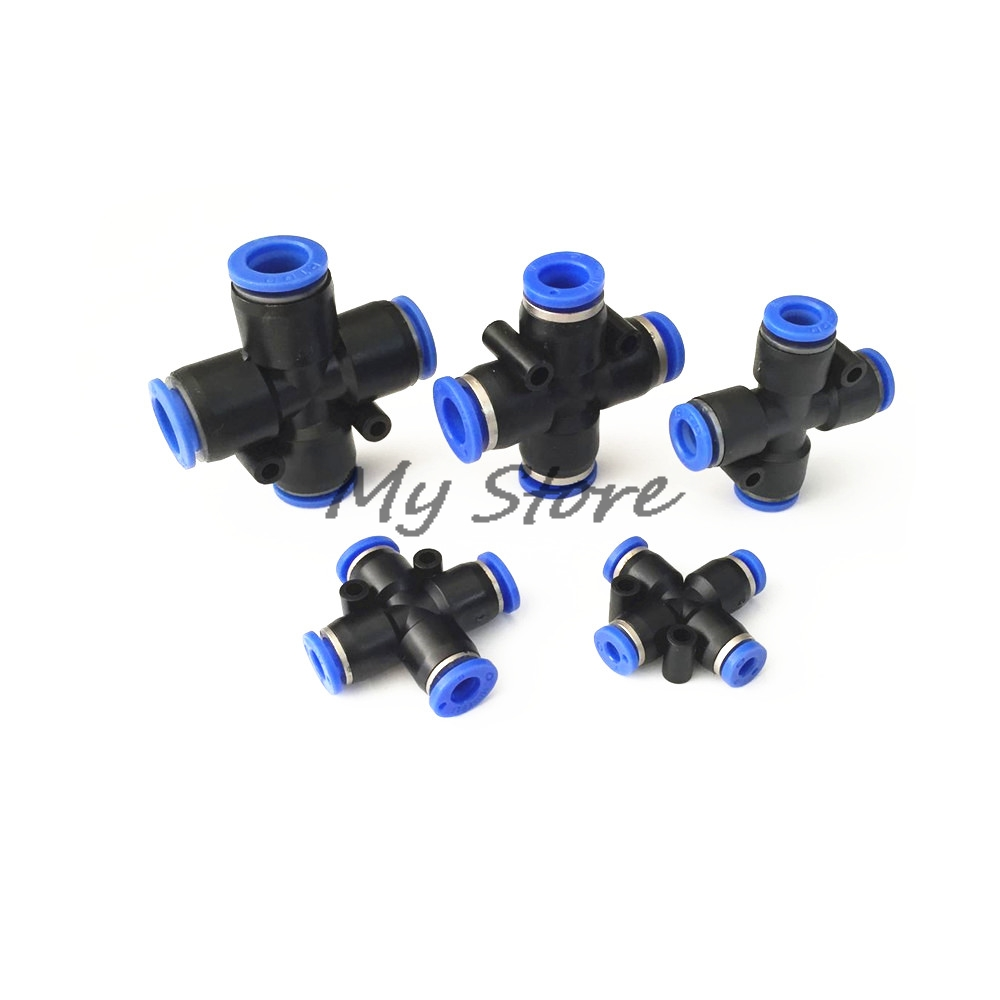 PZA4 6 8 10 12mm Air Fitting 4-Way Cross Shaped Splitter Push in Pneumatic Tube Connector Quick Fittings 10 pcs lot pneumatic fittings pe 6 6mm tee fitting push in quick joint connector pe4 pe6 pe8 pe10 pe12