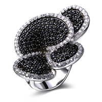 Flower Rings For Women Unique Design Black Cubic Zirconia White CZ Stones Christmas Gift Turkish Jewelry