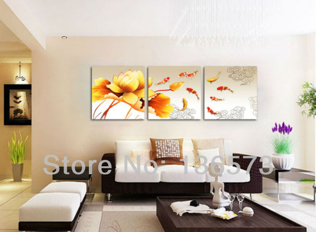 Handmade Koi Fish Canvas Art 3 Piece Paintings Yellow Flower Pictures Modern Living Room Wall
