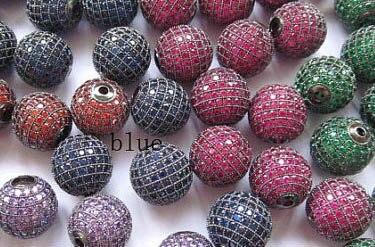AAA Grade-12 pièces 6-16mm Zircon Cubique Micro Pave Laiton Connecteur, Perle Européenne, Rourn Boule Rubis Saphir Bleu Vert Marron Charme