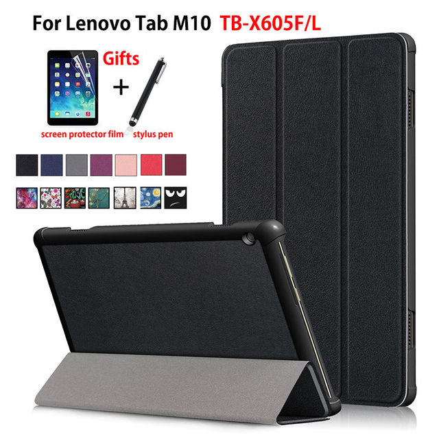 Case For Lenovo Tab M10 10.1 Tablet Cover Funda TB-X605L TB-X605F Slim Magnetic Folding PU Leather Stand Skin Shell +Film+Pen