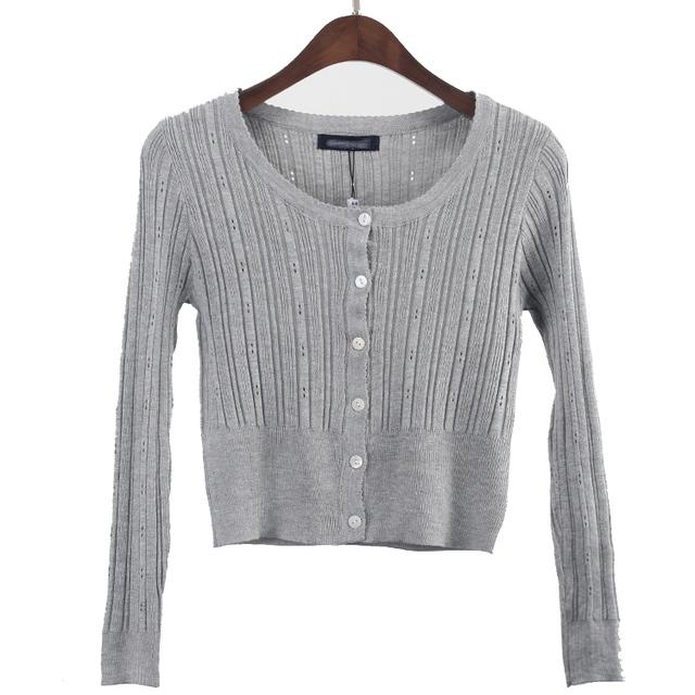 2016 Mujeres Del Suéter de manga larga chaqueta de Punto Mujer Otoño Del O-cuello Hueco Suéter de Punto Abrigo Corto