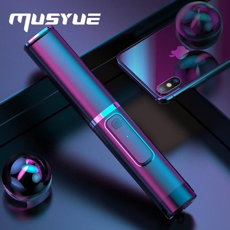 Musyue Tripé Monopé Vara Selfie Mini Dobrável Sem Fio Bluetooth Auto Vara Para iPhone Samsung Huawei Com Controle Remoto