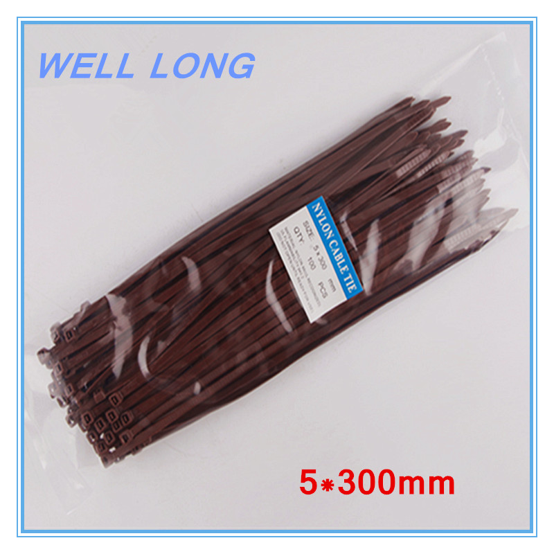 200pcs/lot 5*300mm Brown Self-Locking Nylon Wire Cable Zip Ties, Cable Ties.