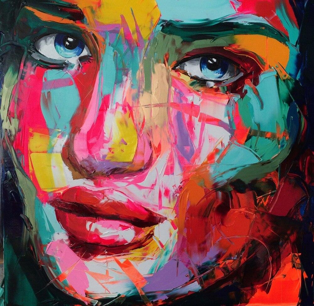 abstraite femme visage mur art peintures sur toile pour. Black Bedroom Furniture Sets. Home Design Ideas