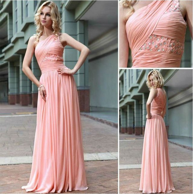 One Shoulder Chiffon Baby Pink Bridesmaid Dress