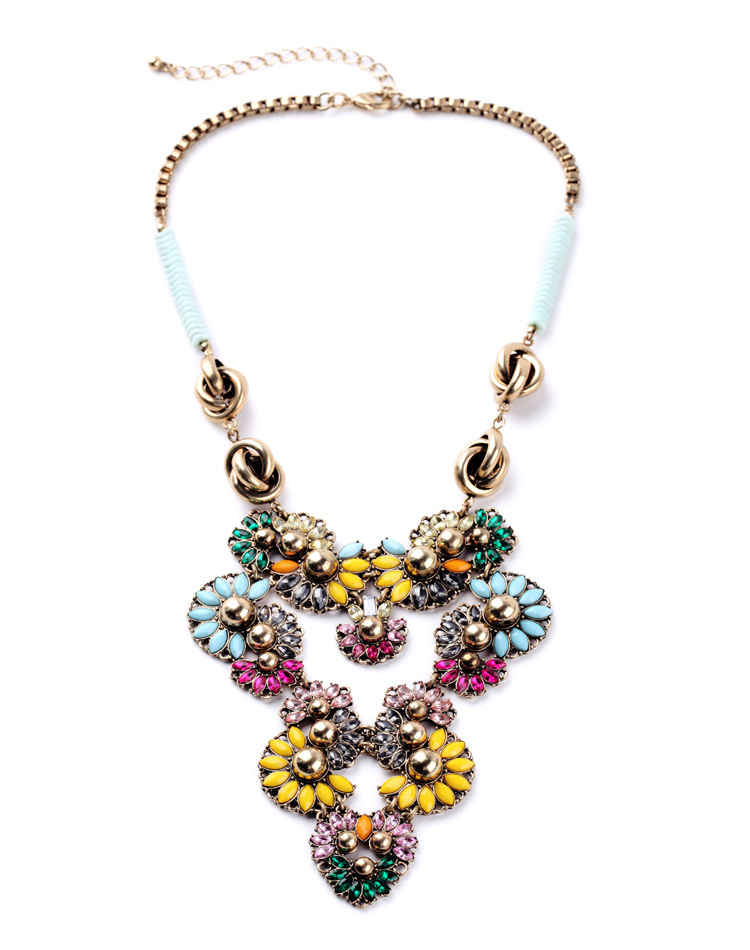Indian style Jewelry Necklace Luxury Appearance Colorful Pendant For Women Long Flower Gold Color Collar Acessory