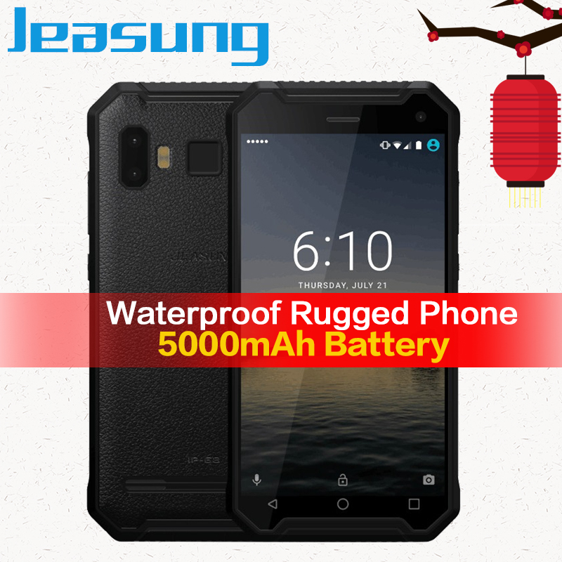 JEASUNG P8 resistente al agua 4G Rugged teléfono móvil ip67 ip68 4G a prueba de golpes a prueba 32 GB ROM teléfono inteligente 5 pulgadas 5000 mah huella dactilar S10