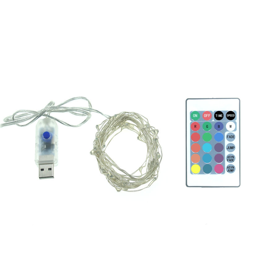 5M 50LED USB Remote Control Led String Lighting 16 colors Silver Wire Fairy Light for Wedding Xmas Christmas Holiday Party Decor in LED String from Lights Lighting