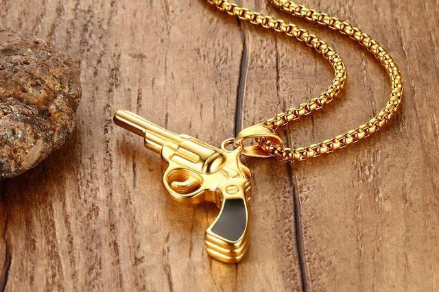 Купить модное мужское ожерелье золотистого цвета в стиле панк с подвесками