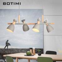 BOTIMI светодио дный подвесные светильники для Кухня Nordic обеденный повесить лампа ресторан E27 подвесной светильник деревянный Крытый светиль