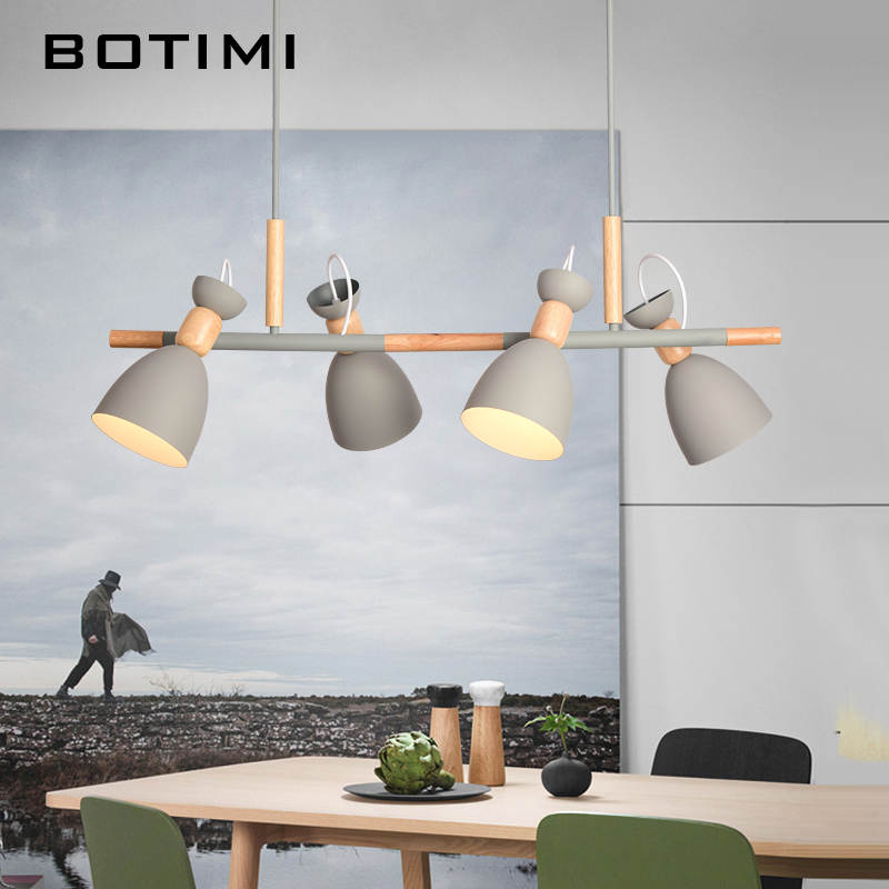 BOTIMI pendentif led Lumières Pour La Cuisine Nordique À Manger Accrocher Lampe Restaurant E27 suspension luminaire En Bois Intérieur luminaire