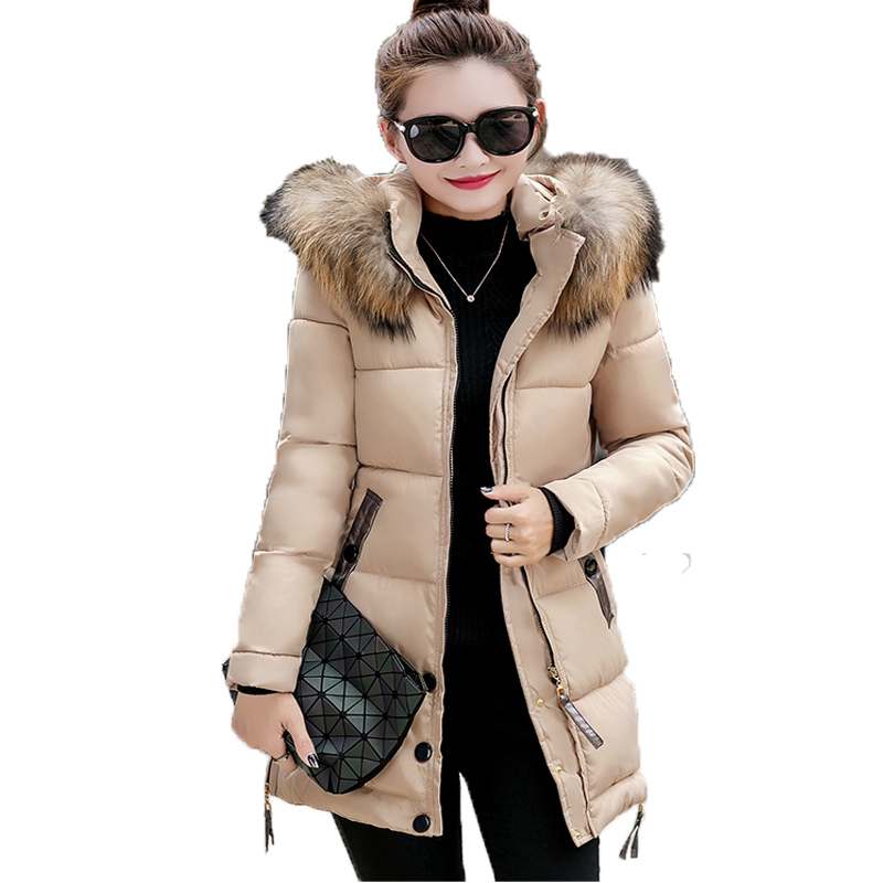 New Autumn Winter Padded Jacket Women Plus Size 3xl Thickening Coat Casual Hooded Faux Fur Collar Long Sleeved Medium-long Parka new 2015 autumn winter outdoors medium long fleece jacket fur hooded army green parka men thickening coat 10