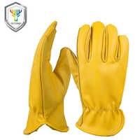 OZERO nouveau cuir de vache hommes travail pilote gants en cuir Protection de sécurité porter des travailleurs de sécurité Moto gants chauds pour les hommes 8007