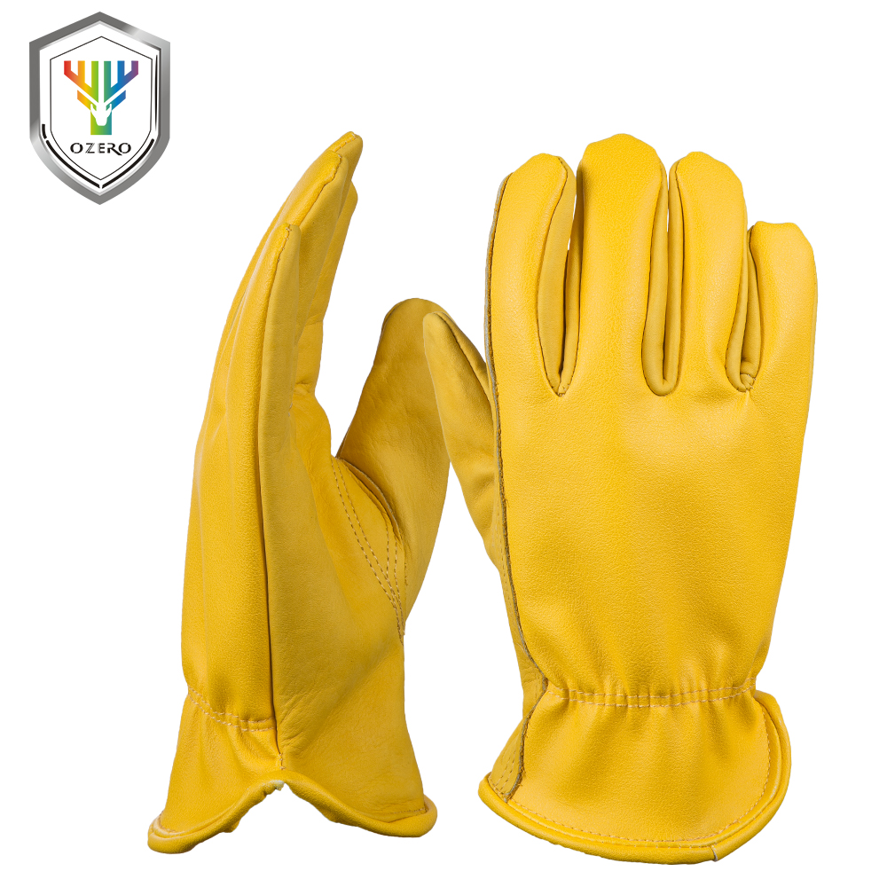 OZERO New Cowhide Men's Work Driver Gloves Leather Security Protection Wear Safety Workers Moto Warm Gloves For Men 8007