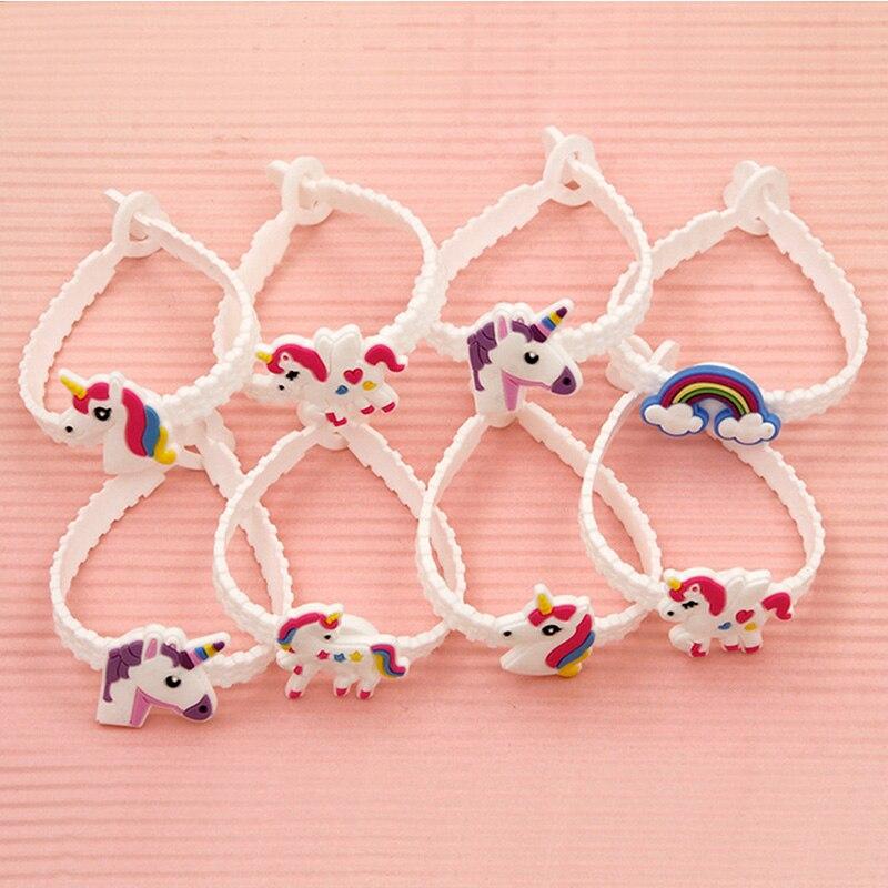 8pcs/lot Unicorn Party Rubber Bangle Bracelet Birthday Party Decorations For Kids Colorful Unicorn Decor Party Supplies