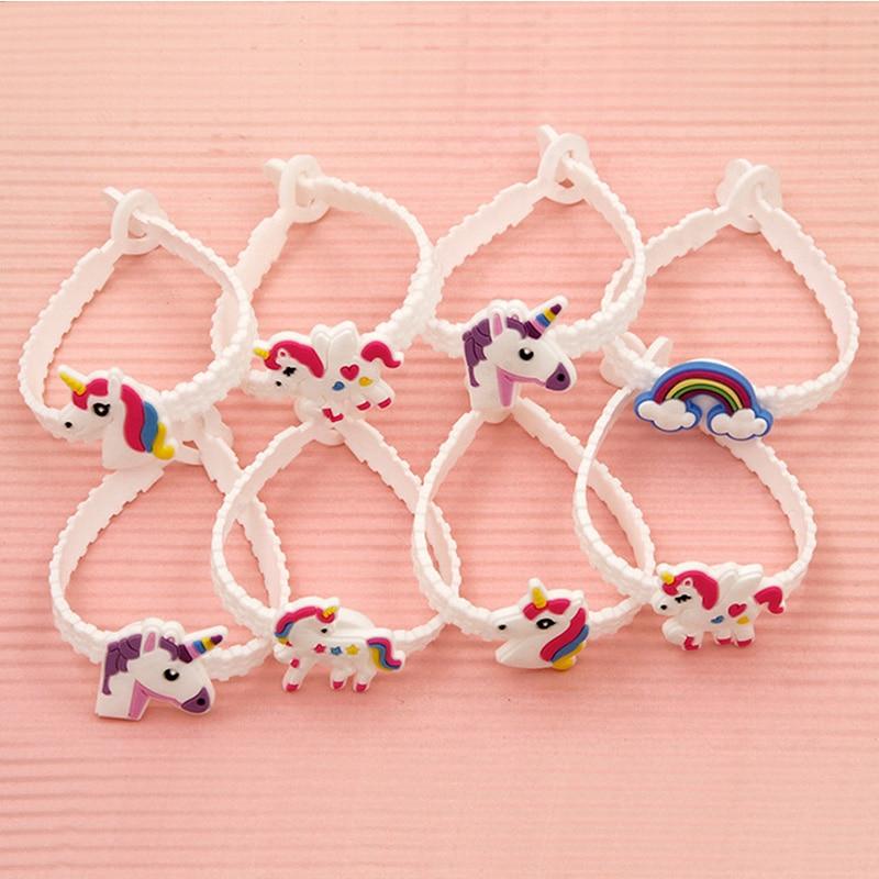 Childrens Toys 8pcs/lot Unicorn Party Rubber Bangle Bracelet Birthday Party Decorations For Kids Colorful Unicorn Deco