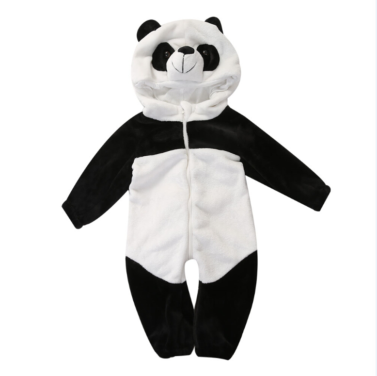 Long Sleeve Cute Panda One Piece Black Cotton Children Baby Boys Girls Clothing Outfits Rompers Clothes Warm Winter Set Infant cotton baby rompers set newborn clothes baby clothing boys girls cartoon jumpsuits long sleeve overalls coveralls autumn winter
