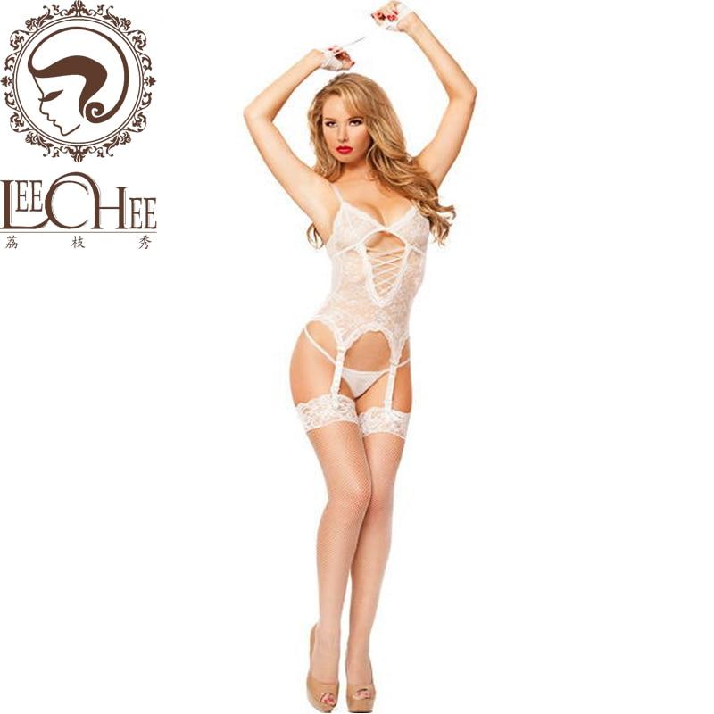 Buy Leechee Hot women sexy lingerie cosplay lenceria sexy perspective vest+handcuff+thong+garter erotic underwear porn costumesBY001
