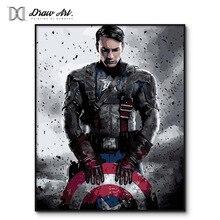 Капитан Америка постер фильмы краска ing по номерам на холсте 20180 Новая краска по номеру наборы Мстители краска ing по номерам