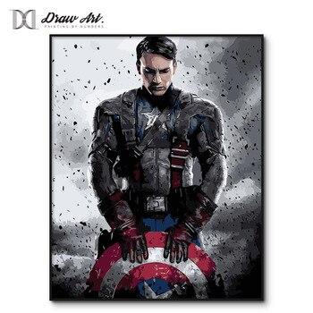 Captain America affiche films peinture par numéros sur toile 20180 nouvelle peinture par numéro kits les Avengers peinture par numéros