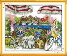 Sunny flower shop cross stitch kit dog pet 18ct 14ct 11ct printed canvas DMC color cotton thread embroidery DIY handmade(China)