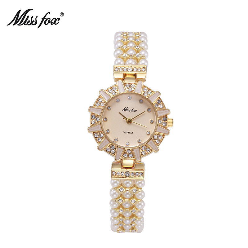 Miss Fox Brand Women Pearl Quartz Watches Rhinestone Women Dress Watch Fashion Diamond Bracelet Women Girl Relogio Feminino 2018