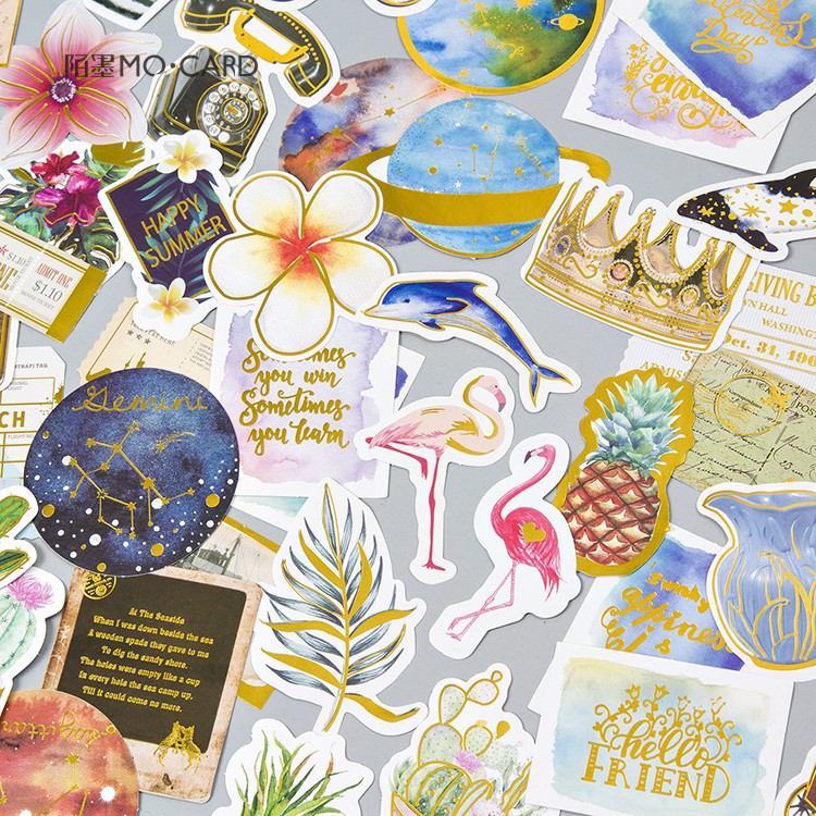 24 pcs/pack Stationery Stickers Retro Bronzing Planet Diary Planner Decorative Mobile Stickers Scrapbooking DIY Craft Stickers spring and fall leaves shape pvc environmental stickers decorative diy scrapbooking keyboard personal diary stationery stickers