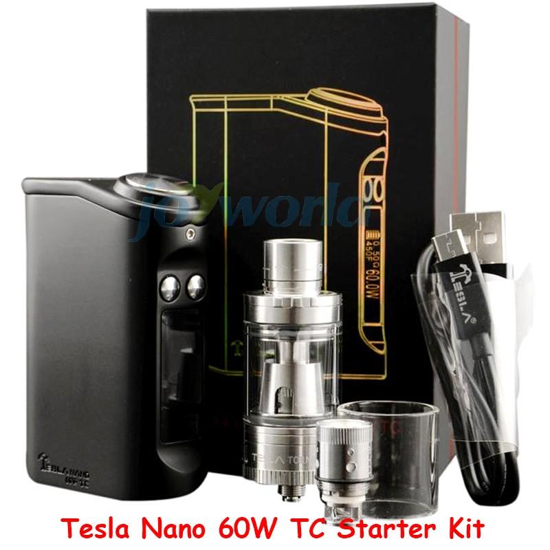 100% Authentic Tesla Nano 60W TC Box Mod Starter Kit 3600mah Battery Vapor Mod with Tornado Sub Ohm Tank vs kanger evod mega YY (6)