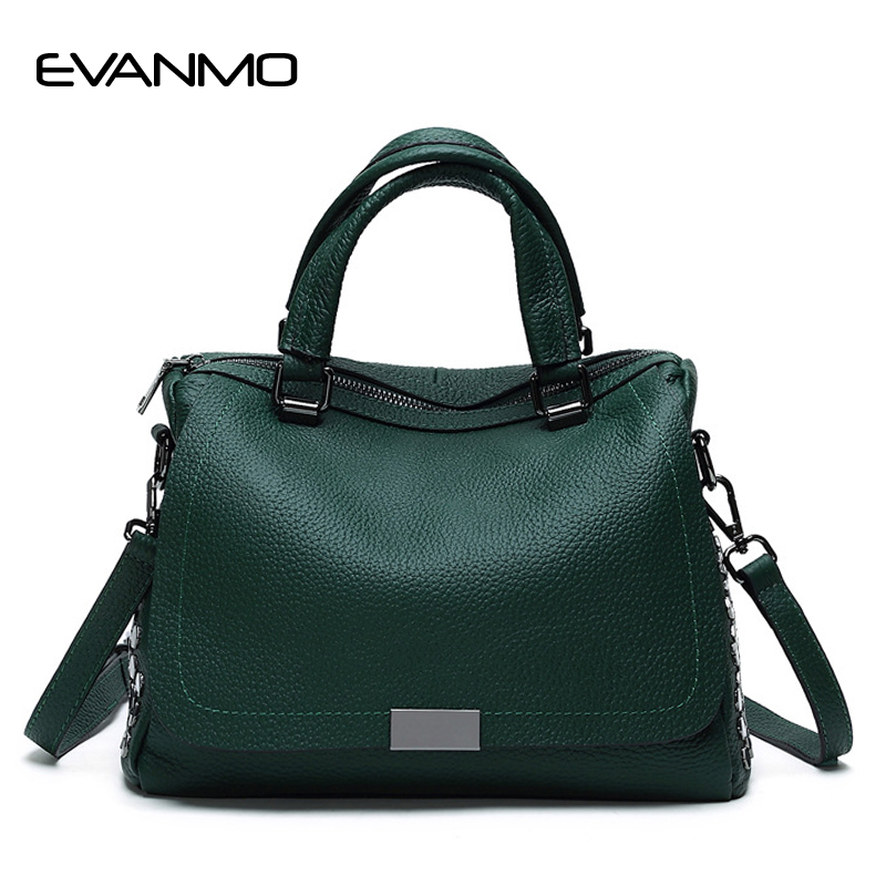 Messenger Bag Women's Shoulder Bag Fashion Soft Rivet Sequined Crossbody Bags for Women Green Leather Handbag Female Casual Tote whx new style casual fashion women tote bag crossbody bag female shoulder messenger bag leather cartoon cat bear sequin handbag