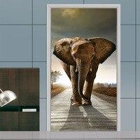 3D Stereo Door Stickers Castle Elephant Living Room Bedroom Door Creative Decorative Wall Stickers Self adhesive Paper