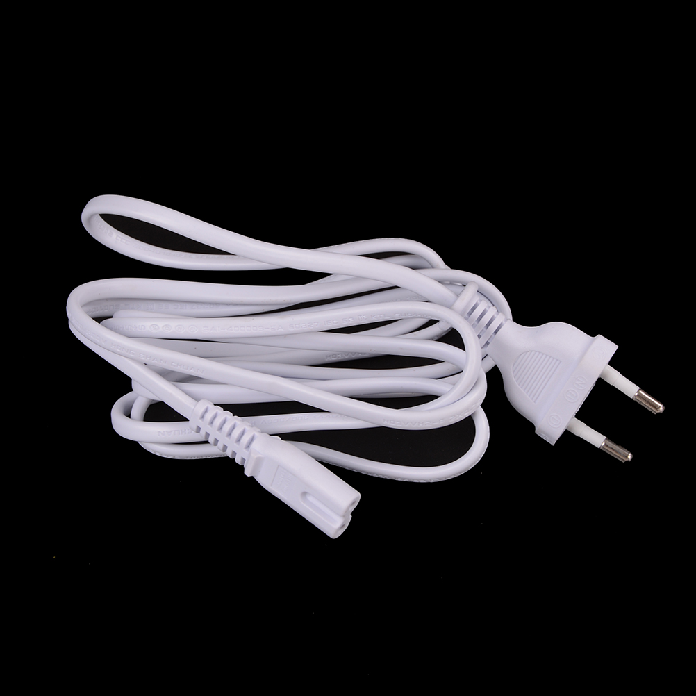 1pc <font><b>White</b></font> 1.5M EU European 2-Prong Port <font><b>AC</b></font> <font><b>Power</b></font> Cord <font><b>Cable</b></font> Slim <font><b>Power</b></font> <font><b>Cable</b></font> for most printer&laptop adapters 2-prong <font><b>power</b></font> cord image