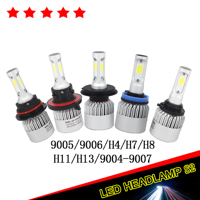 1x Pair 72W 16000LM 6000K H11Hi-Lo/Single Beam COB Chips LED Headlight Kits SUV Fog Lamp H11 H13 9005/HB3 9006/HB4