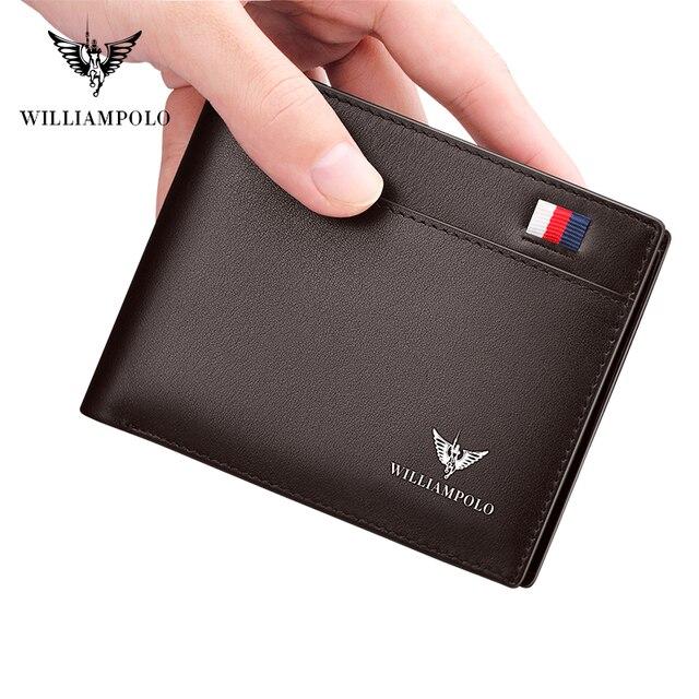 Williampolo carteira masculina de couro legítimo, nova carteira masculina compacta feita em couro legítimo, com dobra central e compartimento para cartões 2