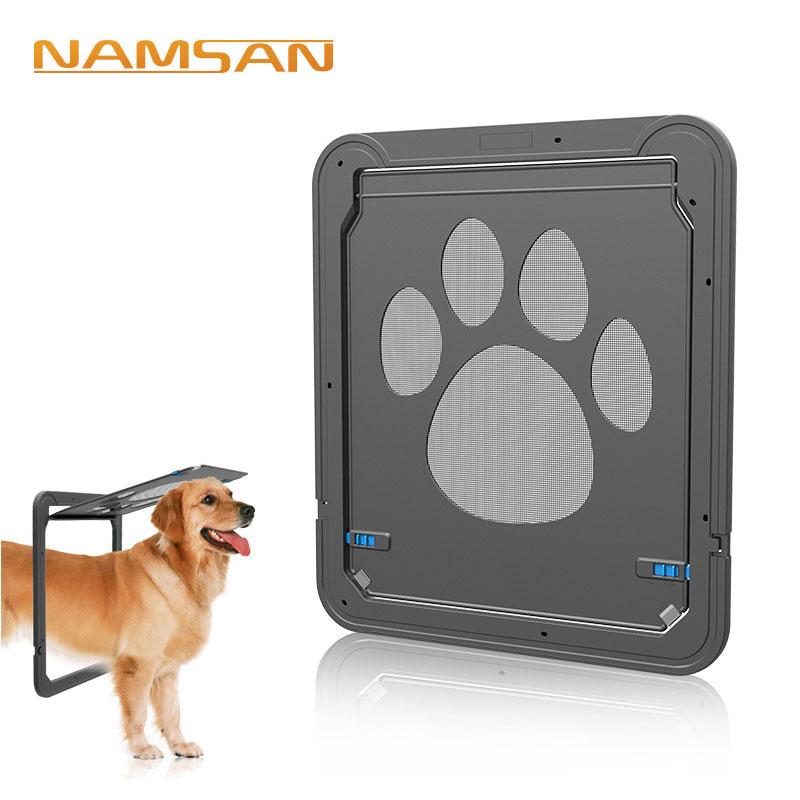Pet Dog Cat Kitten Screen Door Dog Footprint Pattern ABS Black Lockable Magnetic Security Window Screen