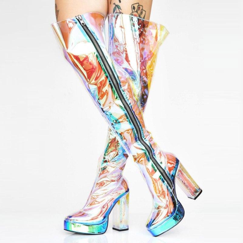 Plate-forme transparente de talons de bloc de PVC au-dessus des bottes de genou femmes bottes de Punk de roche chaussures de talon haut de piste bottes hautes de cuisse de grande taille