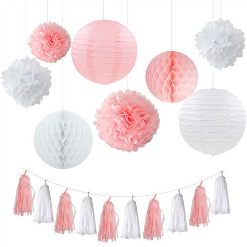 Casamento festa de aniversário papel diy decoração conjunto rosa/azul/céu azul/verde lanterna favo de mel bola pompom flor borla guirlanda, w