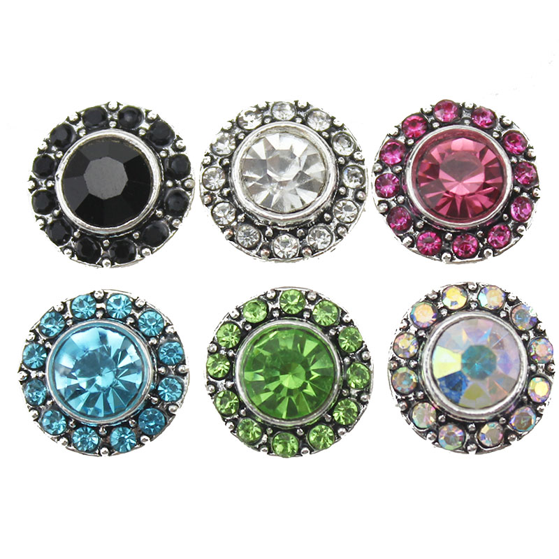 10pcs/lot New Arrival 12mm snap jewelry Rhinestone Round Mini Buttons Charms For 12mm Snap Earring DIY Accessories image