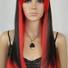 Парик очаровательный смешанный цвет красный черный длинный прямой женский парик