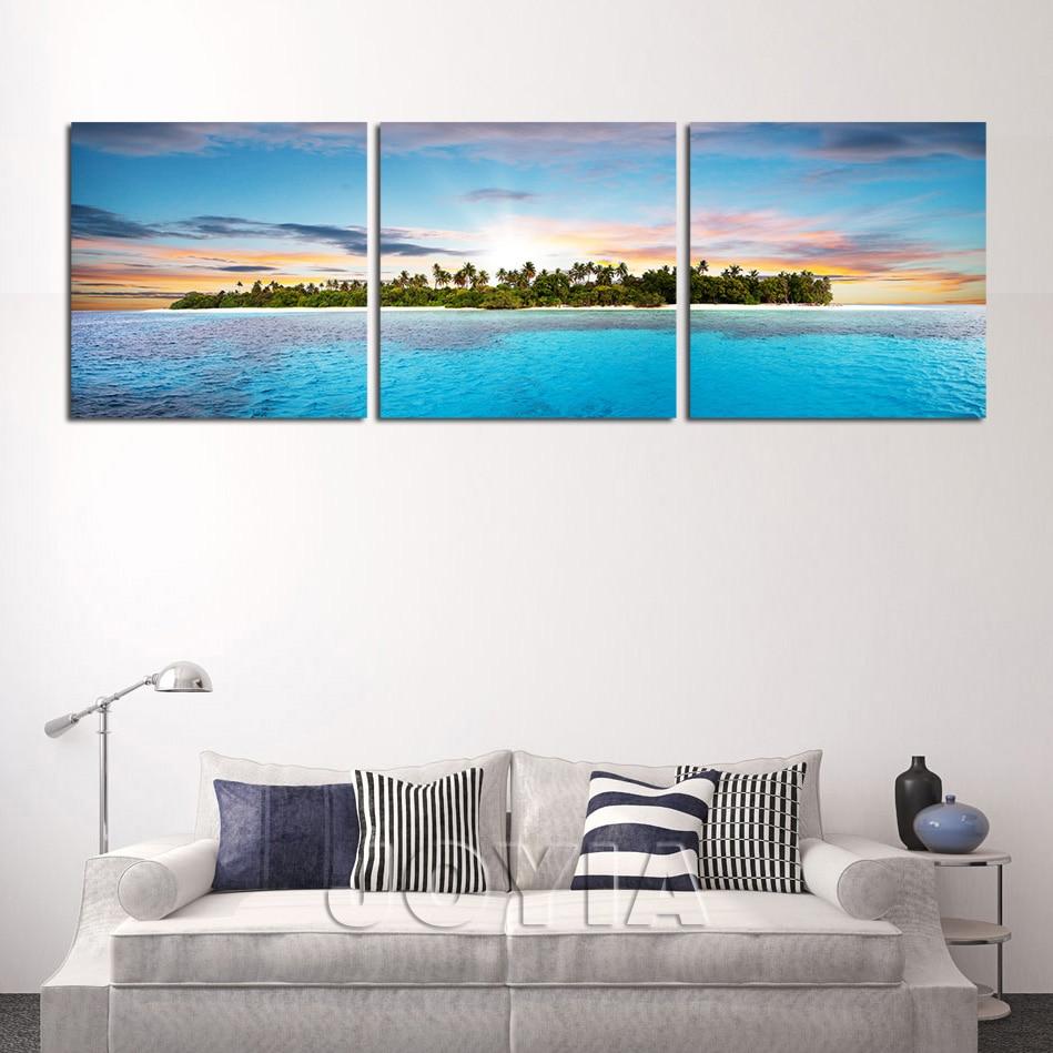3 Panel Wall Art Interesting 3 Panel Wall Art Tropical Island In Ocean Canvas Print Seascape Inspiration Design