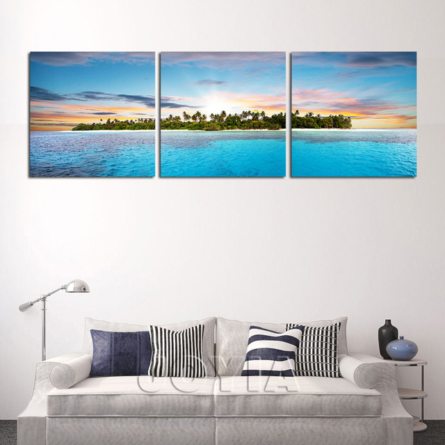 3 panel wall art tropical island in ocean canvas print seascape triptych pictures modern decor calligraphy
