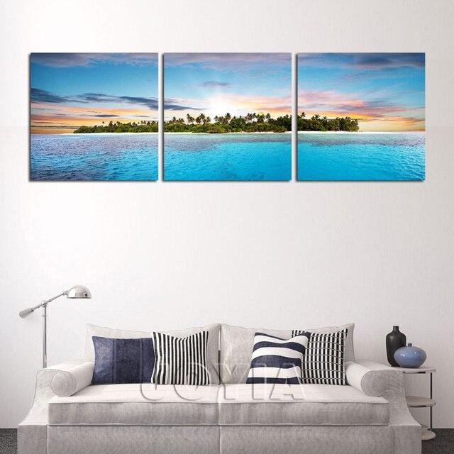 3 panneau mural art le tropicale dans l 39 oc an impression sur toile paysage triptyque photos. Black Bedroom Furniture Sets. Home Design Ideas