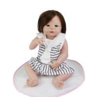 Lovely 23 Inch Princess Girl Baby Dolls Real Human Hair Full Silicone Vinyl Reborn Babies With Marine Dress Kids Birthday Gift