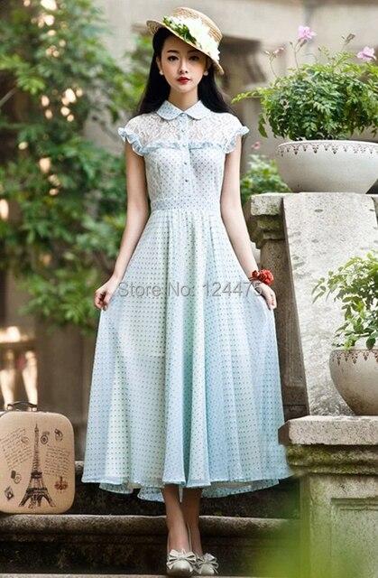 New Women S Beautiful 1950s 60s 70s Retro Style Polka Dot Chiffon Swing Dress Long Cly