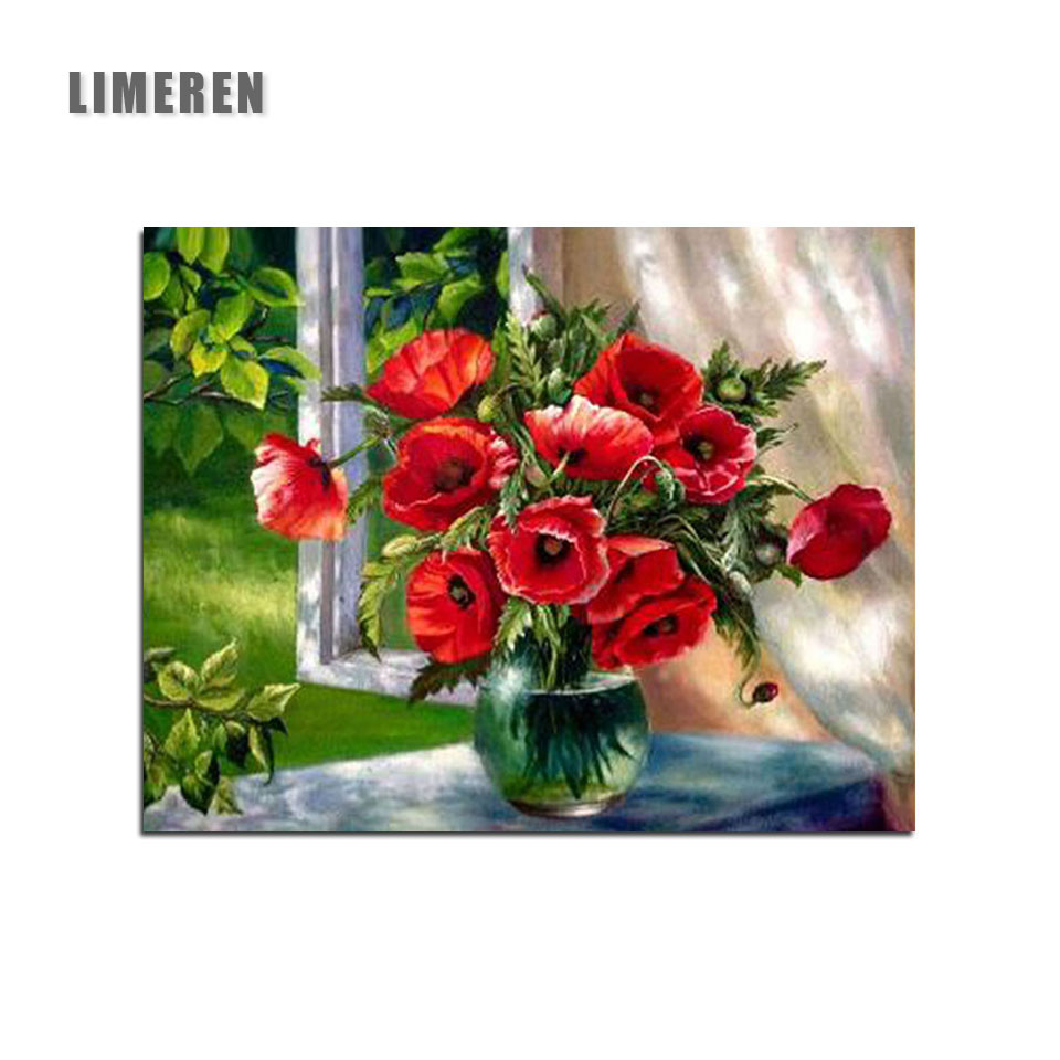 Us 6 12 45 Off Beautiful Red Flowers In Vase Picture Diy Oil Painting By Numbers On Canvas Coloring Number For S Kids Hobby Home Decor